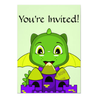Chibi Dragon With A Yellow And Purple Castle 5x7 Paper Invitation Card