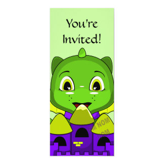 Chibi Dragon With A Yellow And Purple Castle 4x9.25 Paper Invitation Card