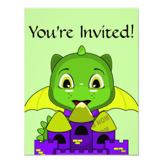 Chibi Dragon With A Yellow And Purple Castle 4.25x5.5 Paper Invitation Card