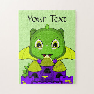 Chibi Dragon With A Yellow And Purple Castle Jigsaw Puzzle