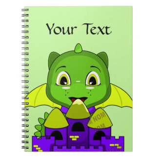 Chibi Dragon With A Yellow And Purple Castle Spiral Note Book