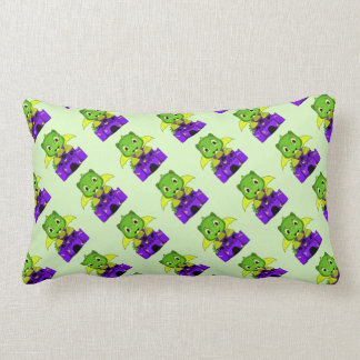 Chibi Dragon With A Yellow And Purple Castle Pillow