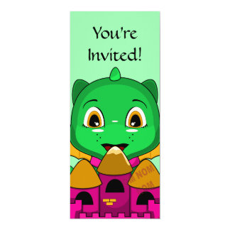 Chibi Dragon With An Orange And Pink Castle 4x9.25 Paper Invitation Card