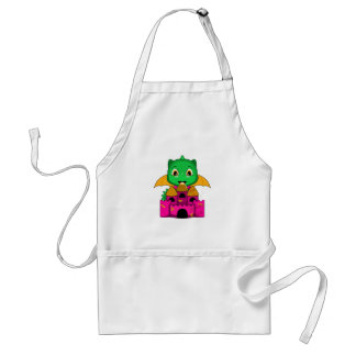 Chibi Dragon With An Orange And Pink Castle Apron