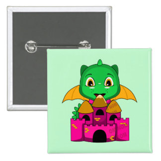 Chibi Dragon With An Orange And Pink Castle Buttons