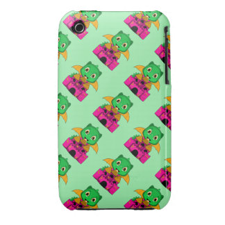 Chibi Dragon With An Orange And Pink Castle Case-Mate iPhone 3 Cases