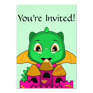 Chibi Dragon With An Orange And Pink Castle 5x7 Paper Invitation Card