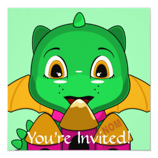 Chibi Dragon With An Orange And Pink Castle 5.25x5.25 Square Paper Invitation Card
