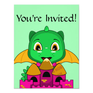 Chibi Dragon With An Orange And Pink Castle 4.25x5.5 Paper Invitation Card