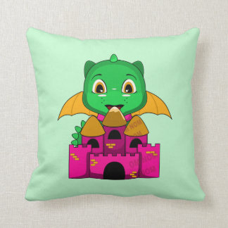 Chibi Dragon With An Orange And Pink Castle Pillow