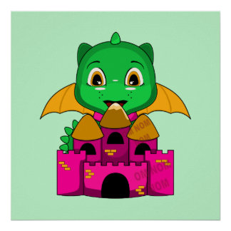 Chibi Dragon With An Orange And Pink Castle Poster