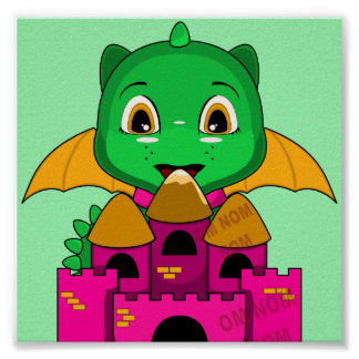 Chibi Dragon With An Orange And Pink Castle Posters