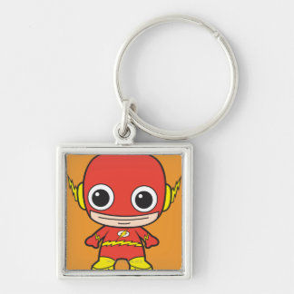 Chibi Flash Silver-Colored Square Keychain