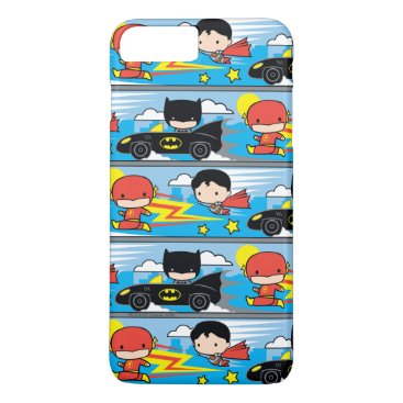 Chibi Flash, Superman, and Batman Racing Pattern iPhone 8 Plus/7 Plus Case