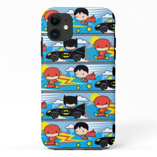 Chibi Flash, Superman, and Batman Racing Pattern iPhone 11 Case