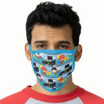 Chibi Flash, Superman, and Batman Racing Pattern Face Mask