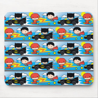 Chibi Flash, Superman, and Batman Racing Pattern Mouse Pad