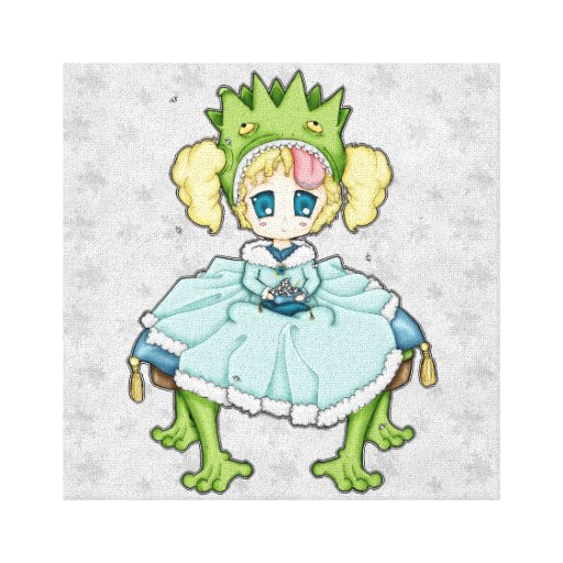 Chibi Frog Princess Canvas Print