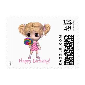 Chibi Girl Happy Birthday Postage
