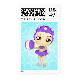 Chibi Girl Pool Party Custom Postage
