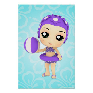 Chibi Girl Summer Time Pool Party Poster