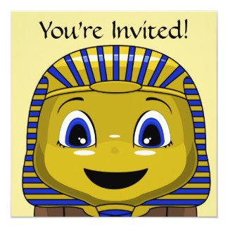 Chibi Golden Sphinx 5.25x5.25 Square Paper Invitation Card