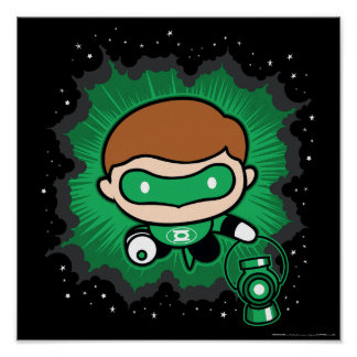 Chibi Green Lantern Flying Through Space Poster