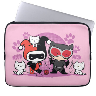 Chibi Harley Quinn & Chibi Catwoman With Cats Computer Sleeve