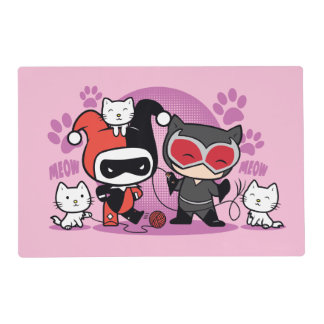 Chibi Harley Quinn & Chibi Catwoman With Cats Placemat