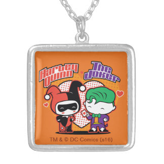 Chibi Harley Quinn & Chibi Joker Hearts Silver Plated Necklace