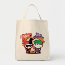 chibi joke, chibi harley quinn, hearts, polka dots, love, couple, super villain, justice league, dc comics, Bag with custom graphic design