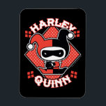 "Chibi Harley Quinn Splits Magnet<br><div class=""desc"">Check out Chibi Harley Quinn as she does the splits in front of a red polka dot diamond backdrop with her name written around her.</div>"