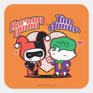 Chibi Harley Quinn y corazones del comodín de Pegatina Cuadrada