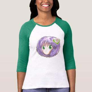 Chibi Head Yuriko T-Shirt Raglan Green