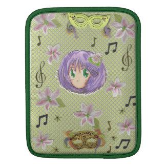 Chibi Head- Yuriko (w/ collage background) iPad Sleeve