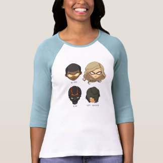 Chibi Heroes 3/4 Sleeve T-Shirt (Gray)