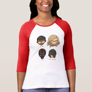Chibi Heroes 3/4 Sleeve T-Shirt (Red)