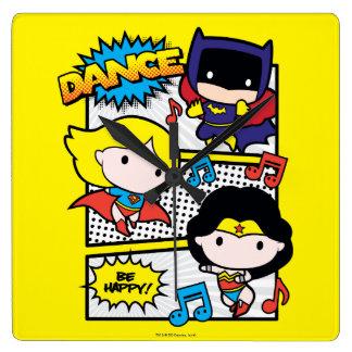 Chibi Heroes Dancing Square Wall Clock