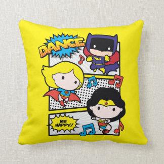 Chibi Heroes Dancing Throw Pillow