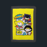 """Chibi Heroes Dancing Trifold Wallet<br><div class=""""desc"""">Check out Chibi Batgirl,  Chibi Supergirl,  and Chibi Wonder Woman dancing to music in action comic panels.</div>"""