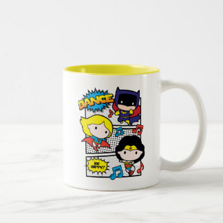 Chibi Heroes Dancing Two-Tone Coffee Mug