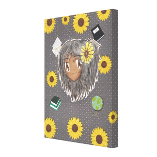 Chibi Hinata con collage del girasol Lona Envuelta Para Galerias