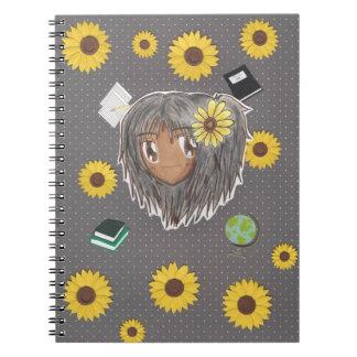 Chibi Hinata con el fondo del collage Libreta Espiral