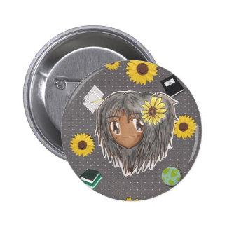 Chibi Hinata con el fondo del collage Pin Redondo De 2 Pulgadas