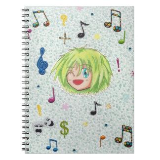 Chibi Izumi con el fondo del collage Notebook