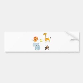 Chibi Jungle Animals design Bumper Sticker