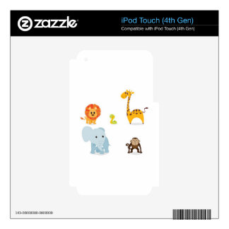 Chibi Jungle Animals design Decals For iPod Touch 4G
