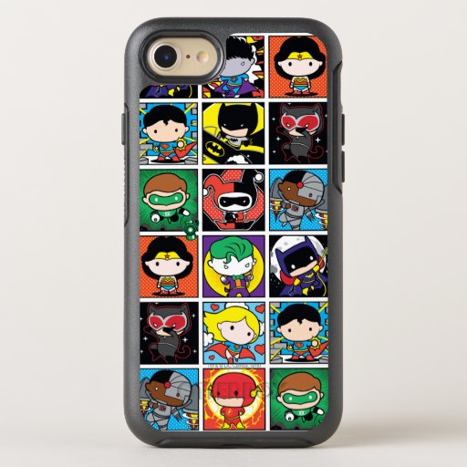 Chibi Justice League Character Pattern OtterBox Symmetry iPhone SE/8/7 Case