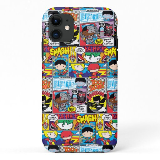 Chibi Justice League Comic Book Pattern iPhone 11 Case