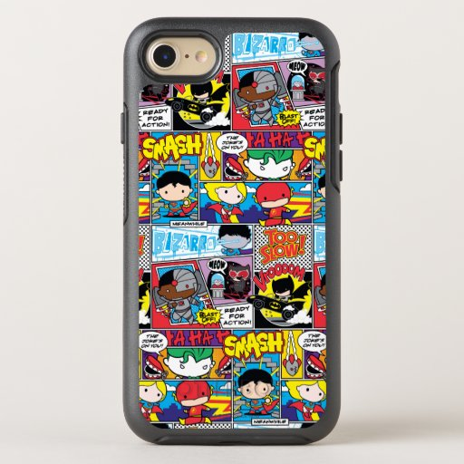 Chibi Justice League Comic Book Pattern OtterBox Symmetry iPhone SE/8/7 Case